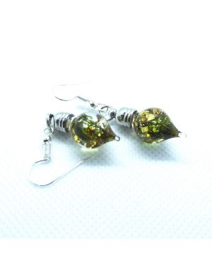 Castle Moss and gold foil Earring