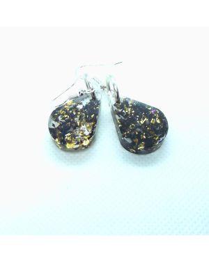 Black and gold foil resin earrings