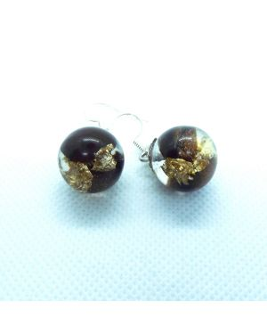 Coffee beans and gold foil orb earrings