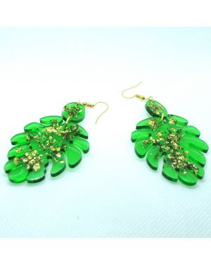 Green leafe resin with gold foil earrings