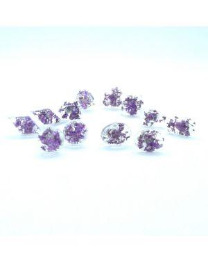Violet flowers stud earrings