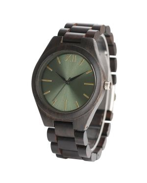 Personalised Laser Engraved Ebony Wood Green Watch