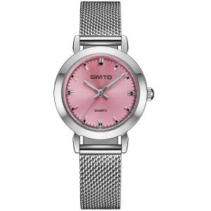 Stainless steel and pink mini dress watch
