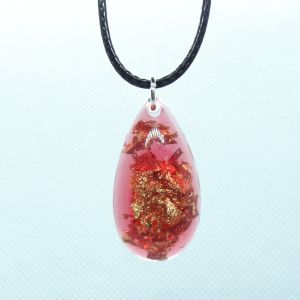 Red and gold leaf resin teardrop pendant