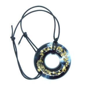 Black and gold foil doughnut resin pendant
