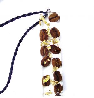 Coffee beans gold foil resin pendant