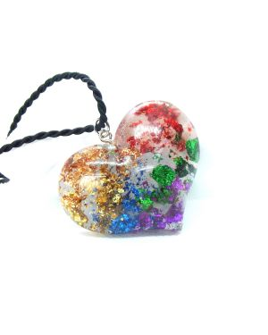 Rainbow foil heart resin pendant