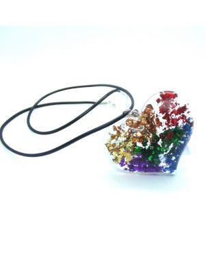 Rainbow foil heart resin pendant