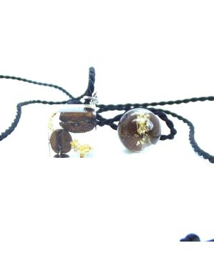 Coffee beans and gold foil resin pendant