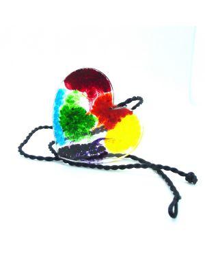 Rainbow splash effect coloured resin heart pendant