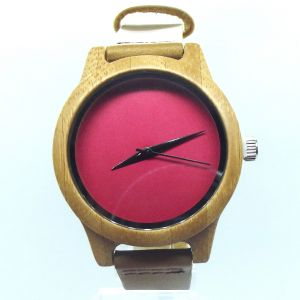 Pink Bamboo women personalised laser engraved watch