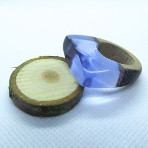 Walnut and blue resin ring
