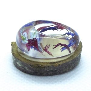Real flowers resin ring