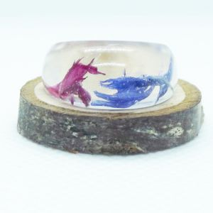Pink and blue cornflower dome resin ring