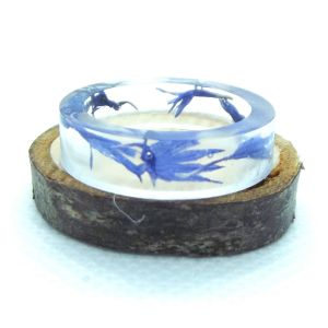 Blue cornflower flat resin ring