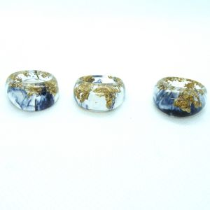 Black and gold dome resin ring