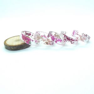 Real pink flowers flat resin ring