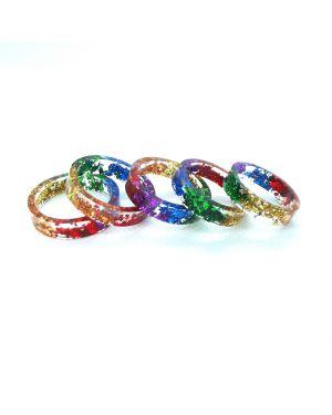 Rainbow foli flat resin ring