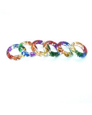 Rainbow foil oval resin ring