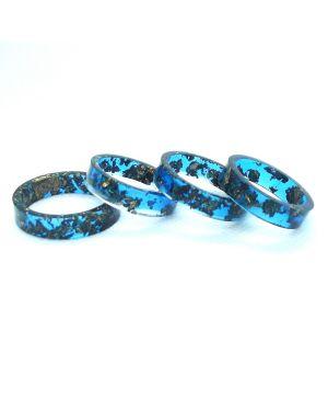 Bronze leaf aqua blue resin ring
