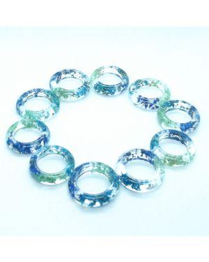 Real blue flower oval resin ring