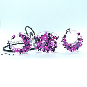 Pink black confetti glitter pendant and earrings set
