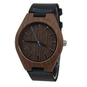 Walnut blue personalised laser engraved watch