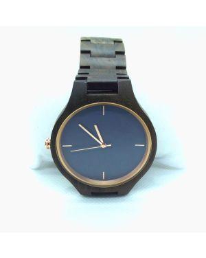 Personalised Laser Engraved Walnut Wood Blue Watch