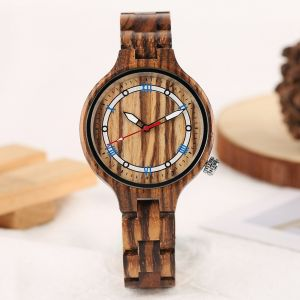 Vintage bamboo women light brown personalised laser engraved watch