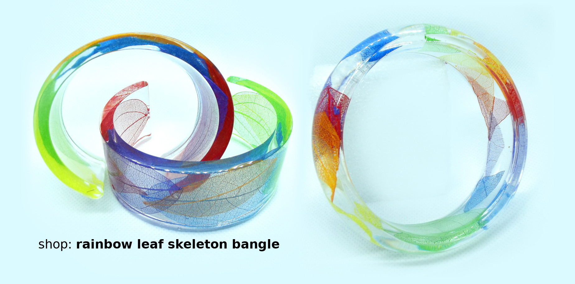 Rainbow leaf skeleton bangle